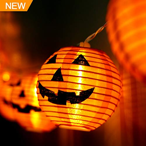 WmBetter Pumpkin String Lights Detachable Polyester Halloween Pumpkin Lanterns with 10 LED lights for Halloween (Joyful Pumpkin)