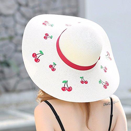 De bajo costo LOF-fei Mujer Verano sombrero para el sol playa paja plegable 1bf3e8d2202