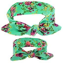 Mookiraer® Baby and Mother Newest Hair Bows Turban Headband Head Wrap Knotted Hair Band 3set (HBkt043)