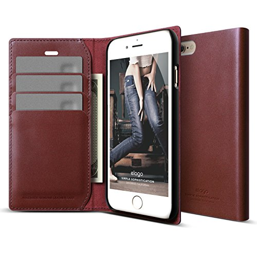 iPhone 6S Plus Case, elago [Genuine Leather Wallet] - [3 Card Slots][Cash Pouch][Premium Genuine Leather] - for iPhone 6/6S Plus (Burgundy)