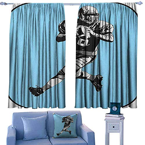 Mannwarehouse Sports Noise Reduction Curtain American Football League Game Rugby Player Run Original Retro Illustration Noise Reducing 55