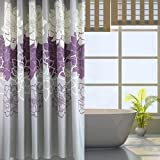 Alicemall Floral Shower Curtain Rustic Style Purple and Grey Flower Bathroom Curtain Set, Waterproof Polyester Fabric Summer Bath Curtain,72x72 inch, 12 Hooks Included (Purple)