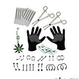 36PC Professional Body Piercing Kit Pot Leaf Belly Rings Tongue,Tragus,Eyebrow,Nipple,Lip,Nose 16G, 14G
