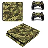 Chickwin PS4 Slim Vinyl Skin Full Body Cover Sticker Decal For Sony Playstation 4 Slim Console & 2 Dualshock Controller Skins (Army Camo)
