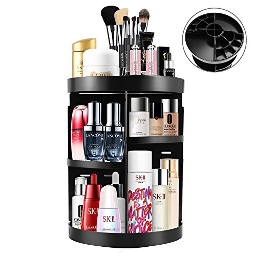 Etmury Cosmetics Organizer 360 Degree Spinning Multi-Function Adjustable Makeup Storage Box for Bathroom Vanity Countertop Make up Accessories Nail Polish Lipsticks Holder, Black