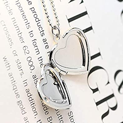 Gostear Flower Pattern Carved Love Heart Pendant Photo Locket Necklace That Holds 2 Pictures for Women
