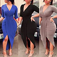 WensLTD Women's Plus Size Elegant V Neck Bandage Bodycon Cocktail Mini Dress Irregular