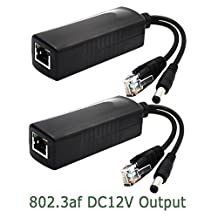 ANVISION 2-Pack Active 12V PoE Splitter Adapter Injector, IEEE 802.3af Compliant 10/100Mbps, DC 12V Output for IP Camera Wirelss AP Voip Phone AV-PS12*2