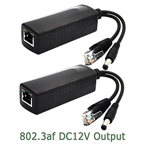 ANVISION 2-Pack Active PoE Splitter Adapter IEEE 802.3af Compliant 10/100Mbps, DC 12V Output for IP Camera Wireless AP Router Voip Phone AV-PS12