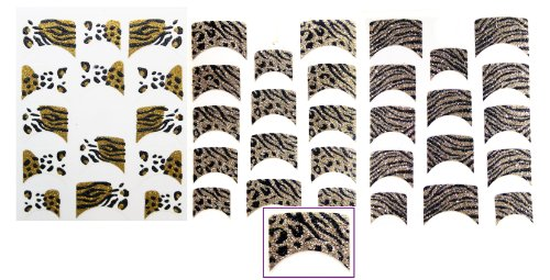 LD Glitter French Tip Nail Art Polish Film / Stickers for Hands / Animal Print Pack of 3