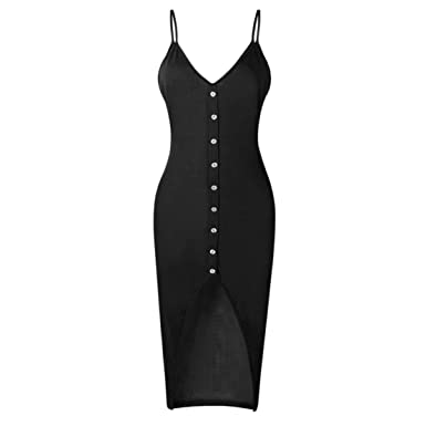 055637bea1e Bringbring Women V Neck Party Summer Beach Midi Dress  Amazon.co.uk ...