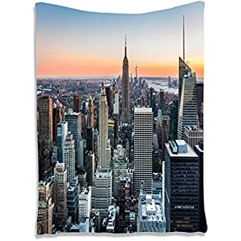 Wall Art Tapestry Decor New York City Themed Picture Rose Quartz Manhattan  Skyline Sunset Lighted Fabric Part 37