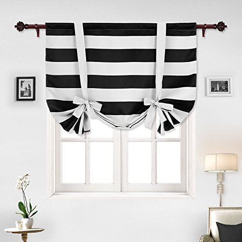 Deconovo Striped Blackout Curtains Rod Pocket Black and Greyish White Striped Curtains Tie Up Window Drapes for Living Room 46W X 45L Black 1 Panel ()