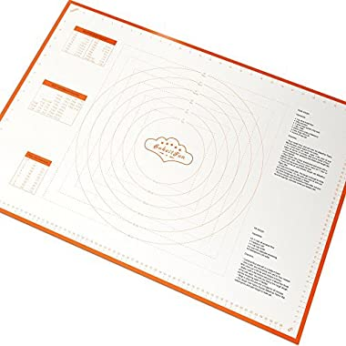 BakeitFun X-Large Silicone Pastry Mat With Measurements, 29.5 x 20.5 Inches, Full Sticks To Countertop For Rolling Dough, Conversion Information Included, Perfect Fondant Surface, Orange