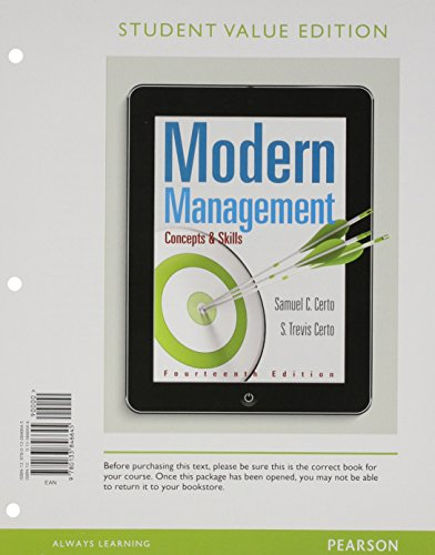 Modern Management: Concepts And Skills, Student Value Edition (14th Edition)