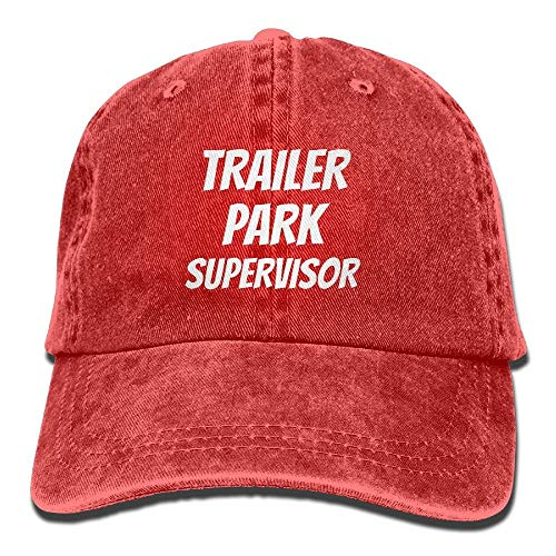 Aegatelate-hat Trailer Park Supervisor Adjustable Washed Cap Cowboy Baseball Hat Red
