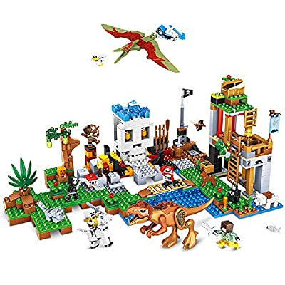 BOY-S-YEAR 652 Pieces Building Blocks Dinosaur Blocks Brick Building Set Learning Educational Dinosaur Building Blocks for Boys Girls Great Birthday Gift Idea