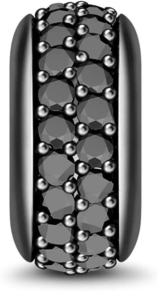 GNOCE Espaceur Stoppeur en Argent Sterling 925Montre Mon Style Charm Bouchon Bloqueur Charms D/écor/é Pierre de CZ pour Charm Bracelets