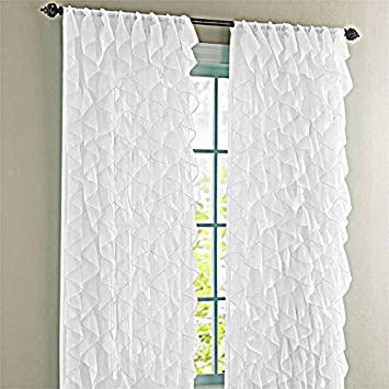 Cascade White 50quotW X 84quotL Shabby Chic Sheer Ruffled Curtain Panel