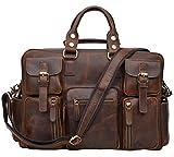 ALTOSY Men Vintage Genuine Leather Briefcase Laptop Messenger Shoulder Travel Bag 6908 (Dark Brown)