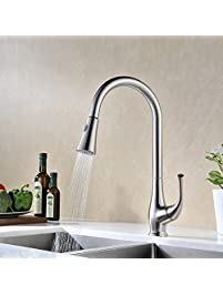 avola solid brass single lever high arc pull down kitchen faucet brushed stainless steel single