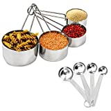 detachable spoon - Colleta Home Measuring Cups Set of 8 – Measuring Cups and Spoon Set - Detachable Ring, Easy Pour Spout, Stackable, Heavy Duty Quality – Kitchen Measuring Set Stainless Steel by