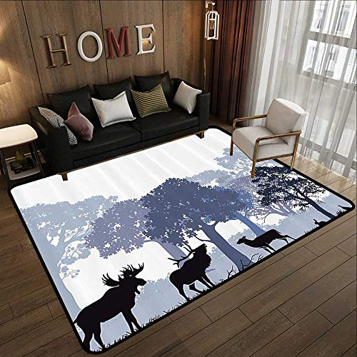 (Low-Profile Mats,Moose,Gray Forest Design Abstract Woods North American Wild Animals Deer Hare Elk Trees,Lilac Cadet Blue Black 63