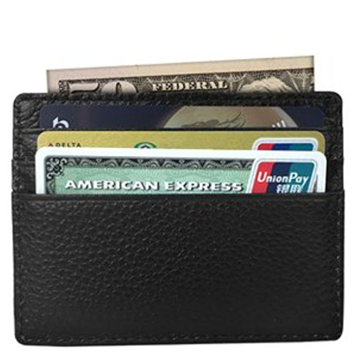Pocket Wallet Black Card Slim Protect RFID Holder Tapp Minimalist Collections Leather xPR14gXw