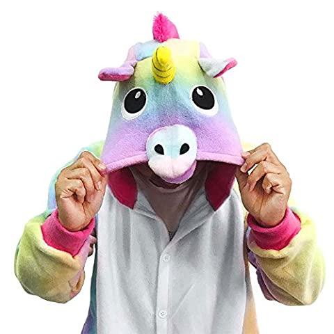 Foresightrade Adults and Children Animal Narwahl Star Rainbow Unicorn Cosplay Costume Pajamas Onesies Sleepwear (M fit for Height 158-168CM, Narwhal Rainbow)