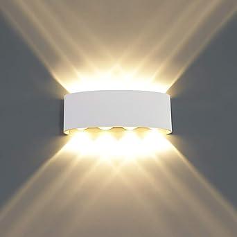 HAWEE Moderno Apliques de Pared LED Luz de Pared Impermeable Aluminio LED Bañadores de Pared Interior Exterior para Baño, Porche, Dormitorio, Pasillo, Sala de Estar, Escaleras, KTV, 8W Blanco Cálido: Amazon.es: Iluminación