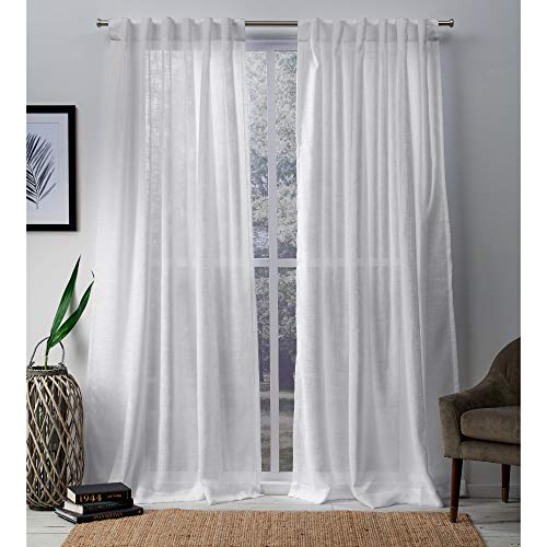 Exclusive Home Curtains Bella Window Curtain Panel Pair with Hidden Tab Top, 54x96, Winter White, 2 Piece (Slide 96)
