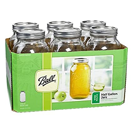 Ball 68100 Half Gallon Wide Mouth Canning Jars 6 Count by Jarden