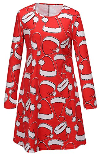 LaSuiveur Women Santa Hat Print Long Sleeve Shift Dress,Red,M