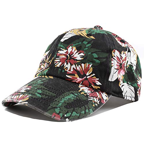 The Hat Depot Unisex Blank Washed Low Profile Cotton and Denim Baseball Cap Hat (Floral-Black)