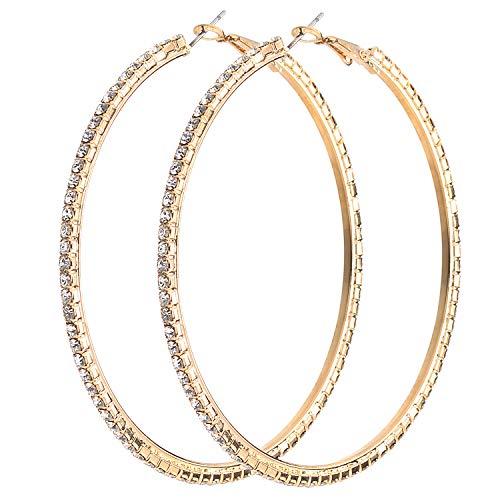 Lux Accessories Goldtone Crystal Rhinestone Pave Hoop Earring