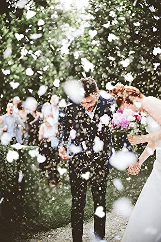 BATTIFE White Heart Shaped Confetti 10000 Pieces Biodegradable Tissue Paper Table Confetti for Wedding Celebrations Party 200 Gram