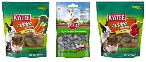- Kaytee Small Animal Treats 3 Flavor Variety Bundle (1) Each: Berry Alfalpha Nibblers, Yogurt Dipped Timothy Hay, Carrot Alfalpha Nibblers, 2.5-5 Ounces