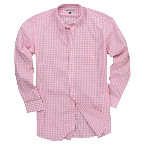 Men's Long Sleeve Button Down Stretch Fit Casual Shirt (Pink/White Plaid, X-Large) (White Pink Gingham Check)
