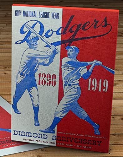 1949 Vintage Brooklyn Dodgers Diamond Anniversary Baseball Program Cover - Canvas Gallery Wrap - 11 x 16