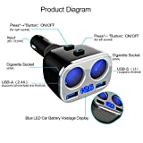 Cigarette Lighter Adapter, Rademax 2-Socket Car Socket Splitter 3.4A Dual USB Car Charger Individual Switch Power Adapter 12V/24V Outlet Multi-functions Car Splitter for iPhone iPad Samsung and more