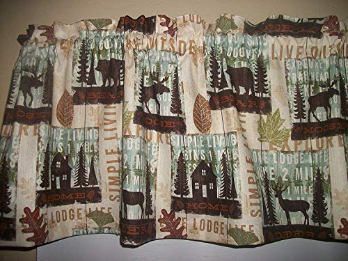 Cabin Lodge Camp Moose Bear Deer North Woods Fall fabric curtain topper Valance matching throw pillow covers available separately