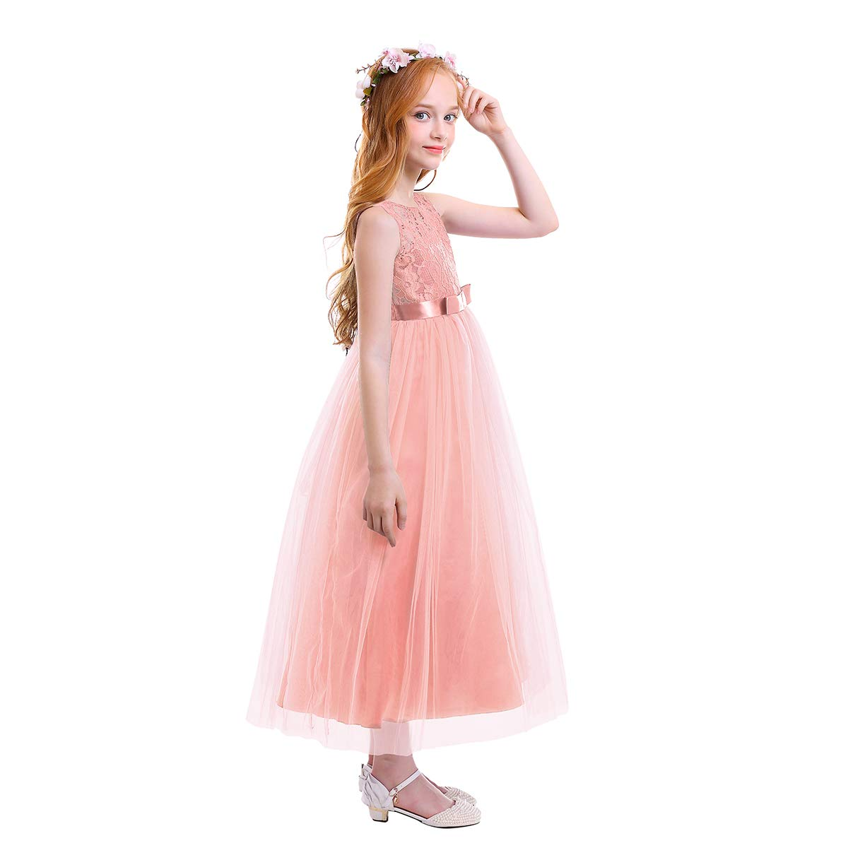 40bd1b3840049 Amazon.com: FYMNSI Big Girls Tulle Lace Dress Wedding Communion Evening  Birthday Party Bowknot Dress Flower Girl Princess Dress 6-15T: Clothing