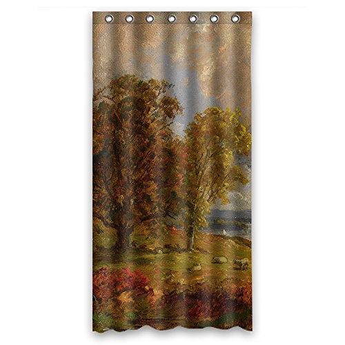 SUNSMILES Polyester Jasper Francis Cropsey - Landscape With Trees And Sheep Near A Copse Christmas Shower Curtains Width X Height / 36 X 72 Inches / W H 90 By - Jasper Horse Golden