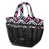Zodaca Mesh Shower Caddie Tote Bag, Black Graphic