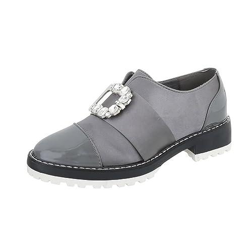Zapatos para mujer Mocasines Tacón ancho Slip-on Ital-Design: Amazon.es: Zapatos y complementos