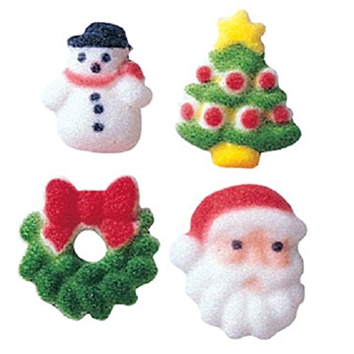 Lucks Dec-Ons Molded Sugar/Cup-Cake Topper, Christmas Charms Assortment, 5/8 Inch - 3/4 Inch, 508 Count