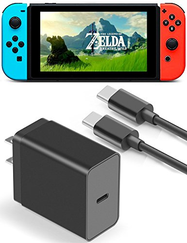 Nintendo Switch Charger, Switch AC Adapter, TITACUTE 3.3FT USB C to USB C Cable Type C Wall Charger Reversible USB Charger Type C Charging Kit Fast Charger for LG G6 V20 Nexus 5X 6P Macbook Pro Black