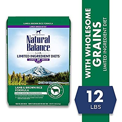 Natural Balance L.I.D. Limited Ingredient Diets Dry Dog Food, 12 Pounds, Lamb & Brown Rice Large Breed Formula