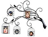 Asense Black Decorative Collage Iron Metal Wall Hanging Family Tree Picture Photo Frame (5 Openings,3-44,2-46)