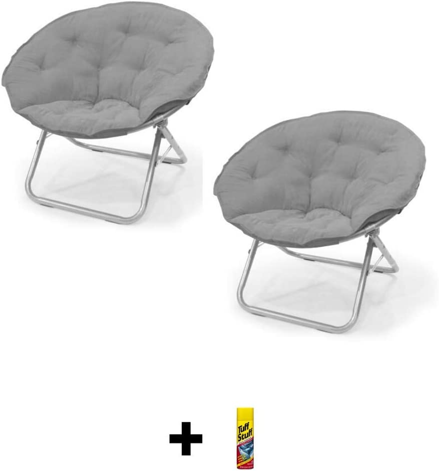 Black Foldable Steel Frame Saucer Chair Set of 2 Free Multi-Purpose Form Cleaner